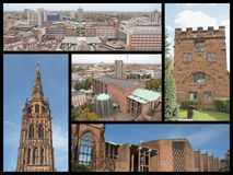 Coventry landmarks collage. Landmarks collage of the city of Coventry including the St Michael cathedral Stock Images