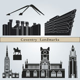 Coventry landmarks and monuments. On blue background in editable vector file Royalty Free Stock Photos
