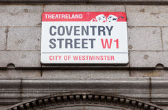 Coventry Street road sign Stock Photography