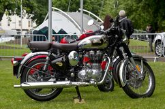 Modern Royal Enfield motorcycle. COVENTRY, UK - JUNE 4: A retro styled Royal Enfield motorcycle stands on display for the public to view during the MotoFest Stock Photo