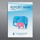 Cover Annual report, colorful elephant origami paper design Royalty Free Stock Images