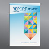 Cover Annual report, colorful pencil design, vector Royalty Free Stock Images