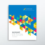 Cover annual report colorful triangles geometric stock illustration