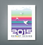 Cover Annual report flying birds and silhouette building Stock Photography