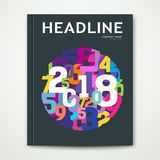 Cover Annual report number 2018 colorful number cercle shape Royalty Free Stock Photos