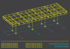 Cover, background for inscriptions. 3D metal construction. Construction drawings Stock Images