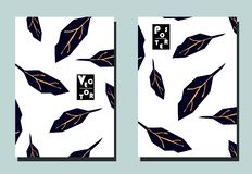 Cover with blue leaves on white backdrop. Two floral vector templates of flyers. A4 format. Art can be used for placard, flyer, banner vector illustration
