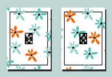 Cover with blue and orange flowers on white backdrop. Two floral vector templates of flyers. A4 format. Art can be used for placard, flyer, banner vector illustration