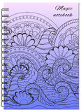 Cover blue zen design of the notebook Royalty Free Stock Images