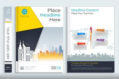 Cover book design template with presentation infographics elements. Cover book design template with presentation infographics elements, Use for annual report Stock Image