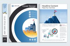 Cover book design template with presentation infographics elements. Stock Photo