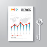 Cover Book Digital Design Template Key of Business Concept. Stock Photos