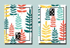 Cover with branches with leaves on white backdrop. Two floral vector templates of flyers. Cover with branches with leaves on white  backdrop. Two floral vector vector illustration