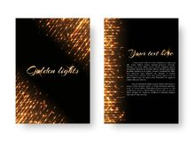 Cover with bright flashes. Bling background with christmas lights. Shine texture on a black backdrop Royalty Free Stock Photo