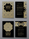 Cover brochure gold design. Arabic traditional decorative elements. Royalty Free Stock Photo