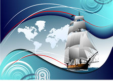 Cover for brochure with old sailing vessel Stock Image