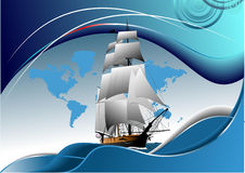 Cover for brochure with old sailing vessel Royalty Free Stock Photo