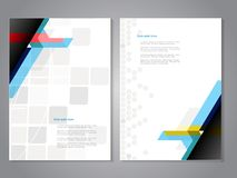 Cover and brochure template with color geometry background. Business concept for layout, brochure, flyer, annual report, magazine, Royalty Free Stock Images