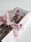 Cover with cake fork and flowers Stock Image