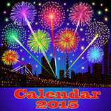Cover of calendar with fireworks night city Stock Images