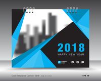 Cover calendar 2018 template. book cover. business brochure flyer design. Cover calendar 2018 template. Blue cover layout. business brochure flyer design Royalty Free Stock Image