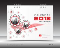 Cover calendar 2018 template, red book cover. Cover calendar 2018 template, business brochure flyer, Mechanical gear vector, red design vector illustration
