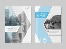 Cover design annual report,vector template brochures. Flyers, presentations, leaflet, magazine a4 size. White with blue abstract background Stock Photography