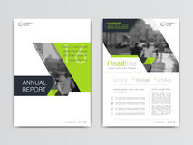 Cover design annual report,vector template brochures. Flyers, presentations, leaflet, magazine a4 size. White with green abstract background Stock Photography