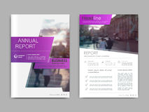 Cover design annual report,vector template brochures. Flyers, presentations, leaflet, magazine a4 size. White with purple abstract background Royalty Free Stock Photos