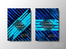 Cover design with blue contrast color, vector background, editable document Stock Photos