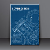 Cover Design blue with in technical style for a book report or o Stock Image