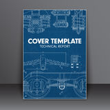 Cover Design blue with in technical style for a book report or o Stock Photo
