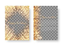 Christmas golden background with sparkles. The cover design of the brochure with golden dazzling lights and bright beams Royalty Free Stock Photo