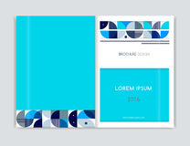 Cover design for Brochure leaflet flyer. Abstract geometric background. Blue, white, gray triangle, squares and circles. A4 size. Stock Photos