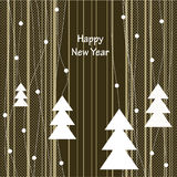 Cover design. For Christmas card.The white Christmas Trees on the striped background Royalty Free Stock Photos