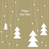 Cover design for the Christmas greeting card. The white Christmas Trees on the beige background and the phrase'Happy New Year Stock Photography