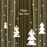 Cover design for the Christmas greeting card. The white Christmas Trees and toys on the striped background and the phrase'Happy New Year Royalty Free Stock Photo