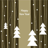 Cover design for Christmas greeting cards. Cover design for Christmas card.The white Christmas Trees on the striped background and the phrase'Happy New Year' on Royalty Free Stock Images