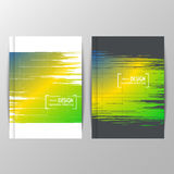 Cover design with colored elements and lines. Set of banners. Three color concept. Geometric background with Brazil flag colors. Can be used in cover design Vector Illustration