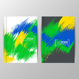 Cover design with colored elements and lines. Set of fyers in colors of Brazil. Three color concept. Can be used in cover design, book design, website Stock Illustration