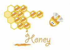 Cover design. Composition with the honey combs,bee and the word 'honey' on the white background Royalty Free Stock Photography