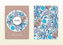 Cover design with floral pattern. Hand drawn creative flowers. Colorful artistic background with blossom Stock Photography