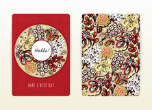 Cover design with floral pattern. Hand drawn creative flowers. Colorful artistic background with blossom Royalty Free Stock Photography