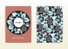 Cover design with floral pattern. Hand drawn creative flowers. Colorful artistic background with blossom Stock Image