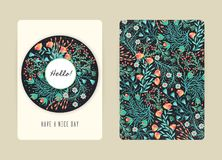 Cover design with floral pattern. Hand drawn creative flowers. Colorful artistic background with blossom. It can be used for invitation, card, cover book Royalty Free Stock Images