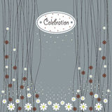 Cover design for greeting cards. Chamomile,the white oval with the word celebration on the grey background Stock Photo