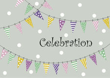 Cover design for greeting cards. Cover design.Colorful flags,white circles and the phrase 'Celebration' on the grey background Stock Photo