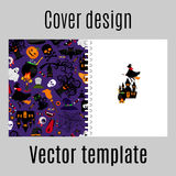 Cover design with halloween icons pattern Royalty Free Stock Photos