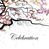 Cover design for the holiday. Shows a black branch with small  petals of the red, pink and  orange colors and the phrase celebration on the white background Royalty Free Stock Images