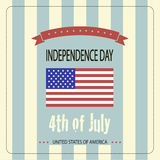 Cover design for Independence Day. Image of the American flag and the phrases Independence Day,4th of July and United States of America on the striped Stock Photos